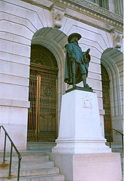 [photo, Cecilius Calvert statue, Clarence M. Mitchell, Jr., Courthouse (from St. Paul St.), 111 North Calvert St., Baltimore, Maryland]