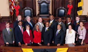 [photo, City Council members after being sworn in Dec. 8, 2011, City Hall, 100 North Holliday St., Baltimore, Maryland]